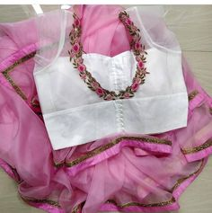 Pure organza cute baby pink saree with hand made work of fully stitched blouse size 34 46 48 40 to order whatsapp 6301484388 🌹 designer… Saree Blouse Neck Designs, Silk Saree Blouse Designs, Fancy Blouse Designs, Saree Blouse Patterns, Dress Designs, Baby Pink Saree, Stylish Blouse Design, Designer Blouse Patterns, Designer Sarees