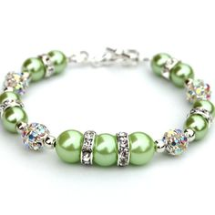 Apple Green Pearl Bracelet with Rhinestones Bling by AMIdesigns, $22.00 Love the green!