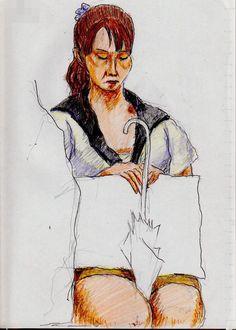 黒いカーディガンのお姉さん(通勤電車でスケッチ)A sketch of the lady who put a black cardigan on. It was drawn by commuter train.