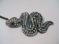Fashion Jewelry Hematite Tone Necklace Clear Rhinestone Snake Pendant #Pendant