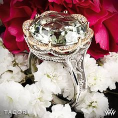 Tacori Seafoam Mint Prasiolite and Diamond Ring Elegantly glamorous and brightly fashion-forward, 18k golden diamond petals gild the lily on a slim .925 silver sculpted crescent frame.