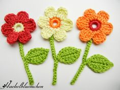 Häkelblumen mit Stiel - Blumen mit Stiel by Haekelbluemchen - Patches - Patches & Appliqué - DaWanda