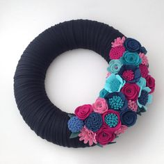Large felt wreath. Mixed Felt flowers. by BlossomandFlourishGB