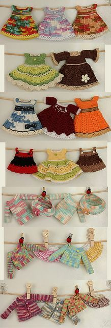 Adorable crochet doll dresses and tops by Ulanna, via Flickr