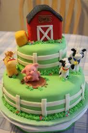 Farm cake. Barn and haystack are rice krispie treats.