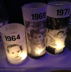 I love these photo candles made by Laura. They would be great for a 40th birthday party.