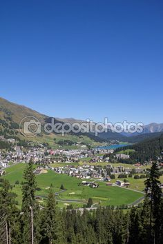 View From Mt. Jakobshorn Down To Davos & Lake Davos In Graubuenden In Switzerland In Summer Davos, My Images, Switzerland, Photo S, Hiking, Seasons, Stock Photos, Vacation, Mountains