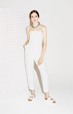 All white EVERYTHING! White is a staple in every girls summer outfit. This all white romper is simple yet oh so chic paired with a necklace to give it a little extra POP. Top shop never fails to grasp those summer trends!