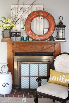 Summer Mantel with Old Life Ring - so love the junky touches!