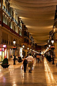 Late Night Shopping at Calle Marques de Larios Malaga Spain