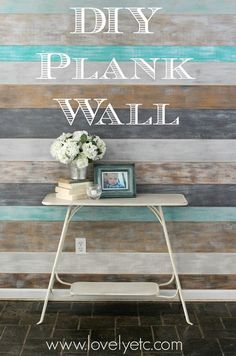 DIY Painted plank wall, would be so pretty in a coastal beach home. Bathroom? Wall behind bed in a bedroom? Just love this. Gives colors for each plank.