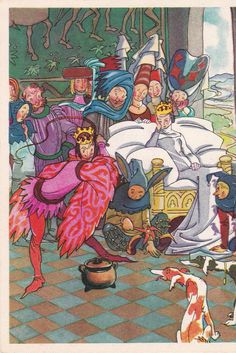 """Postcard Illustration by Goltz for French Tale """"Soup"""" - 1965, Soviet Artist"""