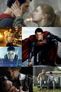 Man Of Steel - Henry Cavill - Russell Crowe - Kevin Costner - Michael Shannon - Collage - Superman Movie 2013 - Zod - Jor el - jorel - baby