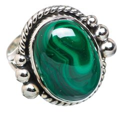 Ana Silver Co Malachite 925 Sterling Silver Ring Size 8 RING828865