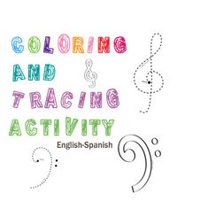 Treble and Bass Clefs Color and Trace Activity Name Coloring Pages, Spanish Names, Student Drawing, Treble Clef, Teaching Music, Teaching Materials, Worksheets, Bass, Students