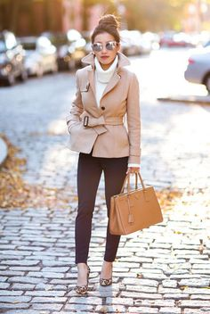 fall outfit, winter outfit, work outfit, office outfit, office style, office wear, business casual - beige short trench coat, white turtleneck sweater, navy ankle pants, leopard print heels, mirror cat eye sunglasses, leopard print heels #casualwinteroutfit