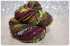 handspun luxury art yarn  124 yards  bollywood sari by sparkyarn, $50.00