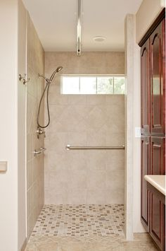 shower with windows adds a lot of natural light. Zero step up....allow for wheelchair access.