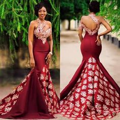 2017 New Arabic High Neck Satin Mermaid Evening Dresses Lace Applique Floor Length Formal … – African Fashion Dresses - African Styles for Ladies African Prom Dresses, African Wedding Dress, African Fashion Dresses, Pageant Dresses, Ghanaian Fashion, African Weddings, Long Dresses, Ghana Wedding Dress, Nigerian Wedding Dress