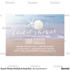 Beach Theme Starfish & Sand Dollar Bridal Shower Card