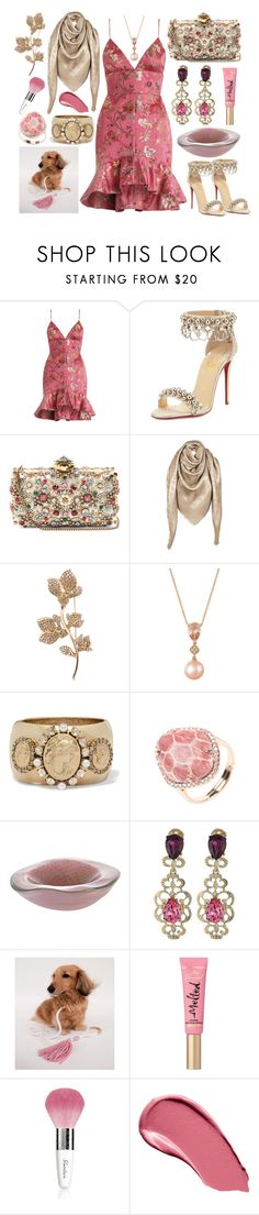 """Melted Candy"" by yournightnurse ❤ liked on Polyvore featuring Zimmermann, Christian Louboutin, Alexander McQueen, Louis Vuitton, Oscar de la Renta, LE VIAN, Too Faced Cosmetics, Guerlain and Burberry"