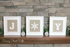 DIY Framed burlap JOY Christmas sign