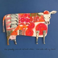 The Cow based on a poem by Robert Louis Stevenson. I am really enjoying researching the rhymes and poems for #the100dayproject and choosing which ones to do. There are quite a few with animals but I am thinking I should do a few on different subjects as a bit more of a challenge. #collage #paperartist #paperart #printandpattern #illustratorsoninstagram #collageartist Collages, Collage Artists, Collage Illustration, Illustrations, Cardboard Art, Cardboard Animals, Motifs Animal, Cow Art, Paper Artist