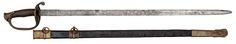 """W.J. McElroy Confederate Foot Officer's Sword Presented to Capt D E Stipes. 31"""" blade with etched panels,  marked in one panel W.J. McElroy, Macon, Ga. On the reverse in the middle of the blade Capt D.E. Stipes, who was a Confederate ordinance officer.  Also on the same side near the ricasso are crossed cannons. The panels are floral in designs with line background. Brass guard with floral designs, brass pommel. leather handle with copper wire. Original leather scabbard with plain brass…"""