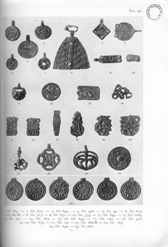 Various pendants. From Birka I by Holger Arbman