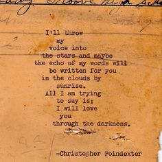 """""""Their tears were their love"""" series poem #21, by Christopher Poindexter."""