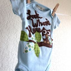 New baby outfit, BOYS Owl , Look Whoo's Here shirt, baby shower gift, spring summer infant clothes - newborn, 3 months. $26.00, via Etsy.