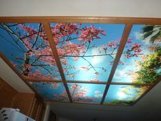 Sky mural ceilings fluorescent light covers ceilings and light panel kitchen installation sky ceiling mural thinking pink 6 panel fluorescent light covers aloadofball Gallery