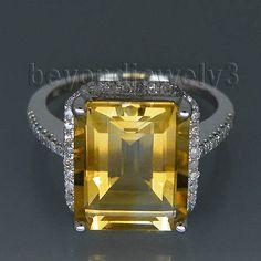 Emerald Cut 10x12mm 14kt White Gold Diamond Citrine Engagement Gemstone Ring R14