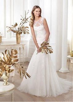 STUNNING TULLE SATIN SEQUIN TULLE MERMAID BATEAU NECK NATURAL WAISTLINE WEDDING DRESS IVORY WHITE LACE BRIDAL GOWN