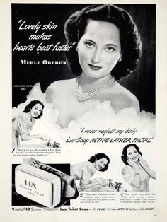 This is an original 1942 black and white print ad for Lux Toilet Soap featuring movie star, Merle Oberon.CONDITIONThis 70+ year old Item is rated Very Fine +++.