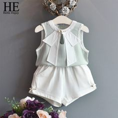 Hello Enjoy Baby Girl Clothes Hot Summer New Girls Clothing Sets Kids Clothes Toddler Chiffon Bowknot Vest+Short Pants Baby Dress Clothes, Cute Baby Clothes, Baby Girl Dresses, Cute Kids Fashion, Baby Girl Fashion, Kids Outfits Girls, Girl Outfits, Stylish Baby Girls, Kids Frocks