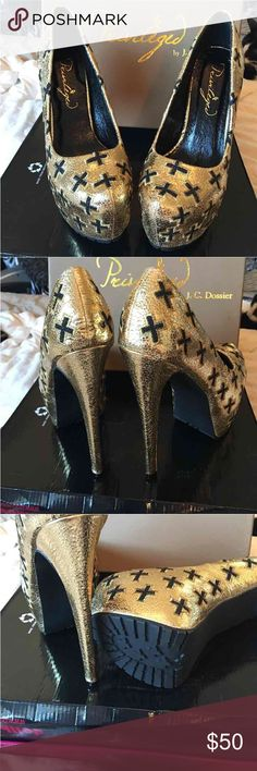 Privileged Cross Platform Brand Privileged. Gold crinkle with black crosses. True to size and roomy for 8-1/2. Shoes Platforms