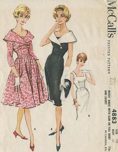 1959 McCall's Vintage Sewing Pattern 4883 for fifties fashion dresses. Vintage Dress Patterns, Vintage 1950s Dresses, Vintage Outfits, Look Fashion, Retro Fashion, Vintage Fashion, Fifties Fashion, Couture Vintage, Patron Vintage