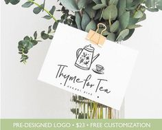 This logo design has a floral, rustic flair combined with a minimal, modern aesthetic. This herbal tea logo design is a great design for a blog, a bakery, a boutique, a photography business or any business owner looking for that innocent, uplifting feel. The name and color of this logo can be completely customized for you at no extra charge.