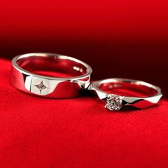 Shop Our Fine Polished 925 Silver Inlaid Sparkling Cubic Zirconia Couple Rings With The Lowest Price And Get Extensive Classic And Fashion Ring Collection Today. Engagement Rings Couple, Couple Rings, Designer Engagement Rings, Solitaire Engagement, Wedding Ring Designs, Wedding Rings, Wedding Band, Unique Rings, Beautiful Rings