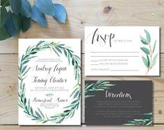 Printable Wedding Invitation Set | Wedding Invite + RSVP + Insert Card |  Watercolor, Modern