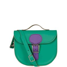 Brit-Stitch Leather Two Tone Half Pint Shoulder Bag -Emerald Green/Purple