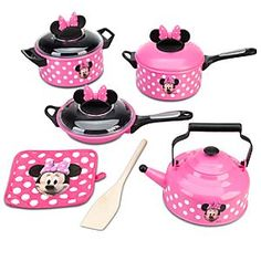 Disney Minnie Mouse Cooking Play Set | Disney StoreMinnie Mouse Cooking Play Set - Cook up an entire afternoon of foodie fun with Minnie's kitchen play set. With pots, pans, a tea kettle and more, Minnie can whip up Mickey's favorite imaginary meal in the flash of a pan!My baby girl would LOVE this!