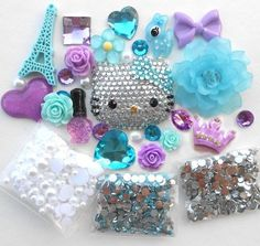 Image of DIY Blinged out Hello Kitty Kawaii Cabochons Deco Kit / Set 1 -- lovekitty Bling Phone Cases, Diy Phone Case, Cell Phone Cases, Phone Covers, Iphone Cases, Iphone 11, Arts And Crafts Supplies, Diy Arts And Crafts, Hello Kitty Accessories