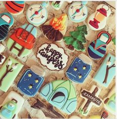 """Poonam (Pam) Toor on Instagram: """"Camping theme sugar cookies ... inspiration from @semisweetmike and @jillfcs #yyc #yyccookies #yycsugarcookies #yyccustomsugarcookies…"""""""