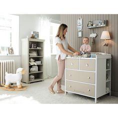 Cómoda-cambiador infantil de madera blanca y topo An. 85 cm