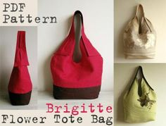 Brigitte Flower Totebag PDF Sewing Pattern by DelindaBoutique Designs