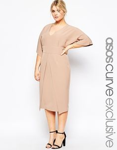 ASOS CURVE Asymmetric Hem Wiggle Dress With Kimono Sleeves