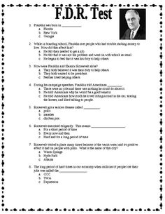 $1.00 This is a test that covers Franklin D. Roosevelt's life. He is one of the many biographies students in Georgia have to study.  This could be given ...