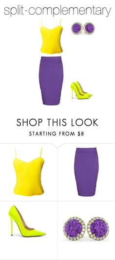 """""""split-complementary"""" by ceairria on Polyvore featuring Versus, Boohoo, Jimmy Choo and Allurez"""